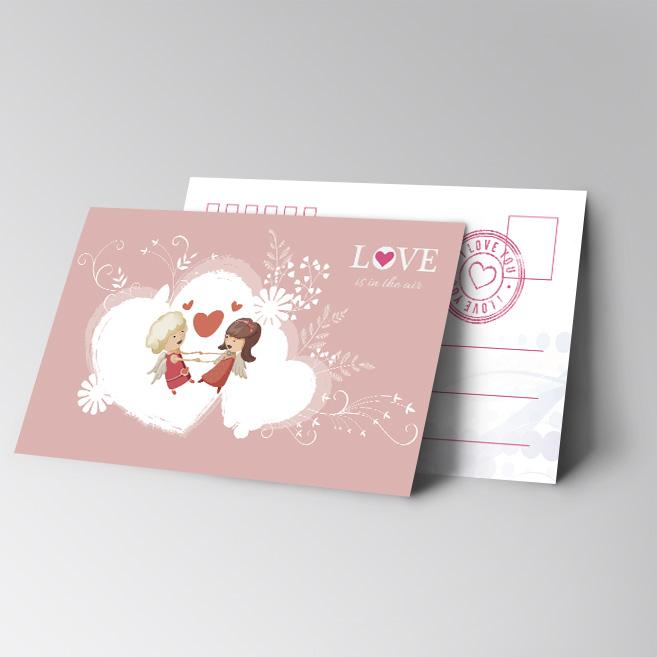 【可爱卡通情人--横版明信片-1】明信片免费设计制作